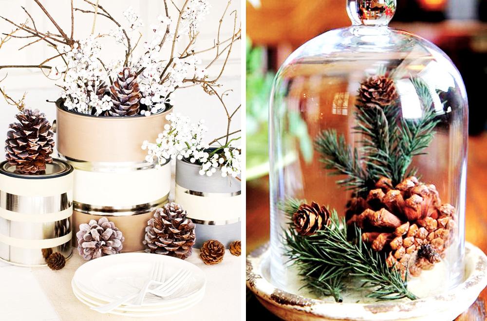 Decorar con piñas la navidad